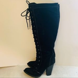 Lace up black women's knee high boots size 7.5